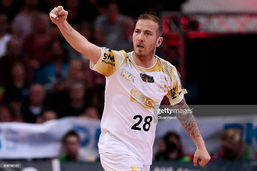 Robert Weber of Magdeburg celebrate after his scoring during the DKB REWE Final Four Finale 2016 between SG Flensburg Handewitt and SC Magdeburg at Barclaycard Arena on May 1, 2016 in Hamburg, Germany.