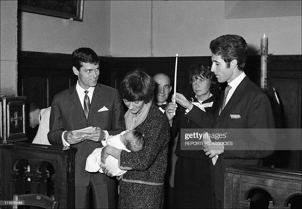 Robert Westhoff Francoise Sagan and baby Denis Jacques Chazot at the Baptism in France on Octorber 06 1962
