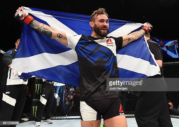 Robert Whiteford of Scotland reacts after his TKO victory over Paul Redmond of Ireland in their featherweight fight during the UFC Fight Night event...