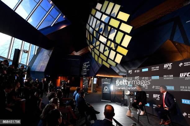 Robert Whittaker and the WA Minister for Tourism the Hournable Paul Papalia takes questions during a UFC 221 media opportunity on October 31 2017 in...