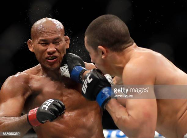 Robert Whittaker connects with Jacare Souza during their Middleweight bout on UFC Fight Night at the Sprint Center on April 15 2017 in Kansas City...