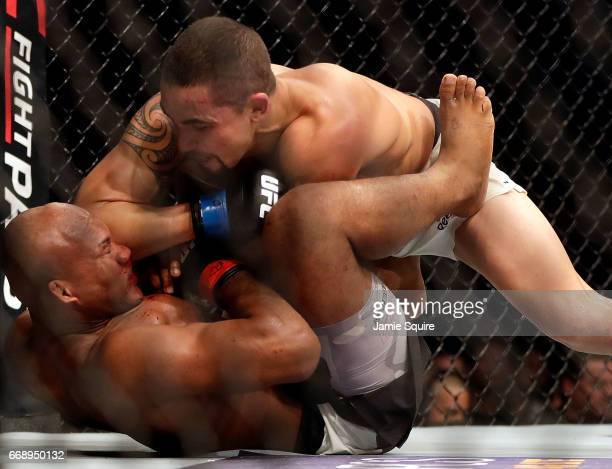 Robert Whittaker dominates Jacare Souza during their Middleweight bout on UFC Fight Night at the Sprint Center on April 15 2017 in Kansas City...