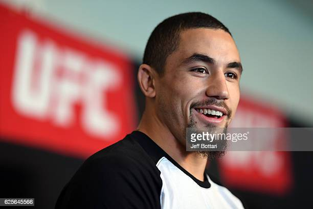 Robert Whittaker of New Zealand interacts with the media during the UFC Fight Night Ultimate Media Day at the Melbourne Convention and Exhibition...