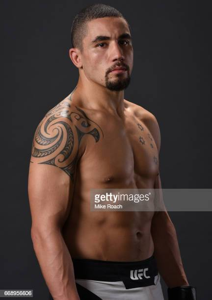 Robert Whittaker of New Zealand poses for a post fight portrait backstage during the UFC Fight Night event at Sprint Center on April 15 2017 in...