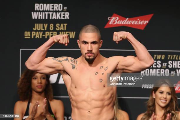 Robert Whittaker of New Zealand poses on the scale during the UFC weighin at the Park Theater on July 7 2017 in Las Vegas Nevada