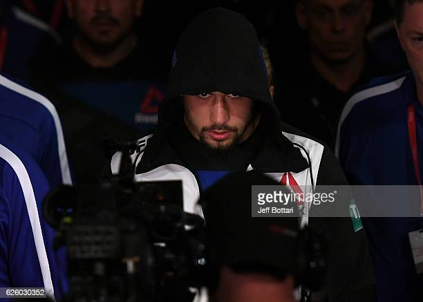 Robert Whittaker of New Zealand prepares to enter the Octagon before his middleweight bout against Derek Brunson during the UFC Fight Night event at...