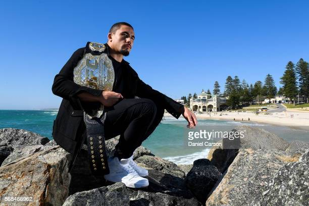Robert Whittaker poses for a photo at Cottesloe Beach after a UFC 221 media opportunity on October 31 2017 in Perth Australia