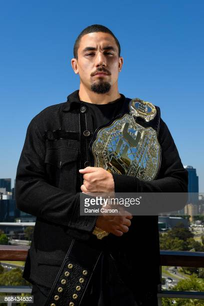 Robert Whittaker poses for a photo at Kings Park overlooking the Perth City skyline during a UFC 221 media opportunity on October 31 2017 in Perth...