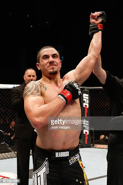 Robert Whittaker reacts after his decision victory over Mike Rhodes in their welterweight fight during the UFC Fight Night event at Vector Arena on...