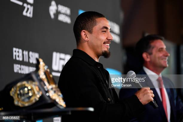 Robert Whittaker takes question from the the press during a UFC 221 media opportunity on October 31 2017 in Perth Australia