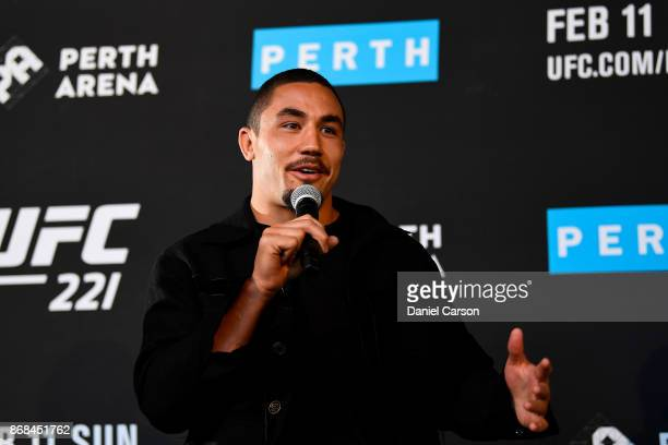 Robert Whittaker takes questions during a UFC 221 media opportunity on October 31 2017 in Perth Australia
