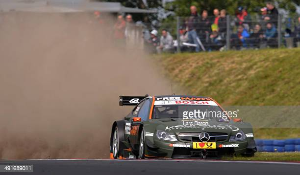 Robert Wickens of Canada and Mercedes HWA drives during a training session prior to the qualifying for the second round of the DTM 2014 German...