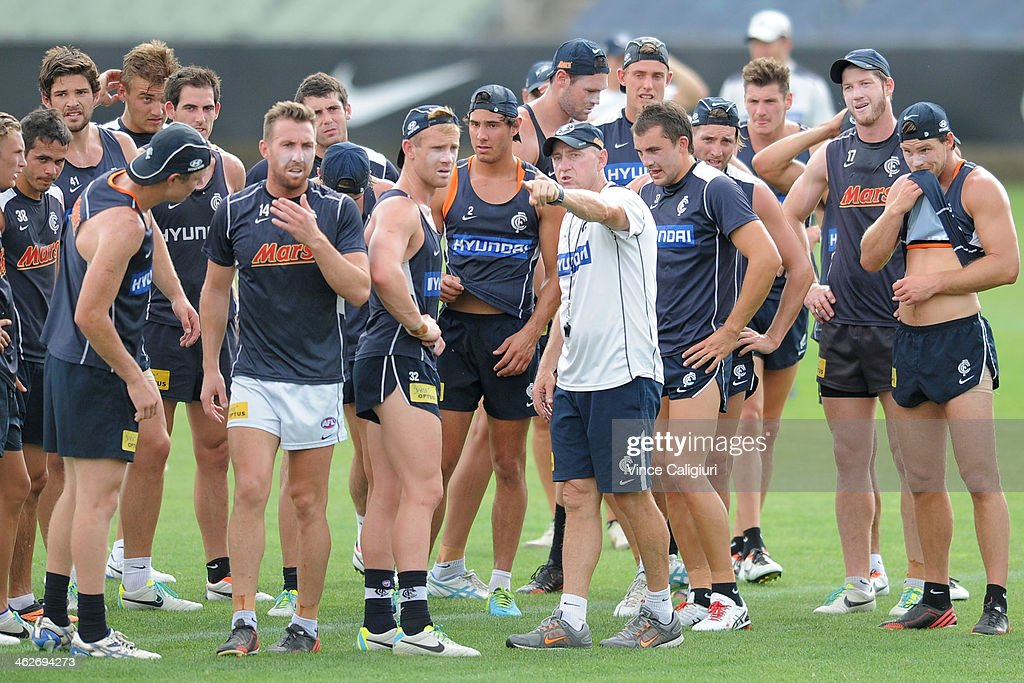 Robert Wiley, assistant coach of the blues during a Carlton Blues AFL pre-season training session at Visy Park on January 15, 2014 in Melbourne, Australia.