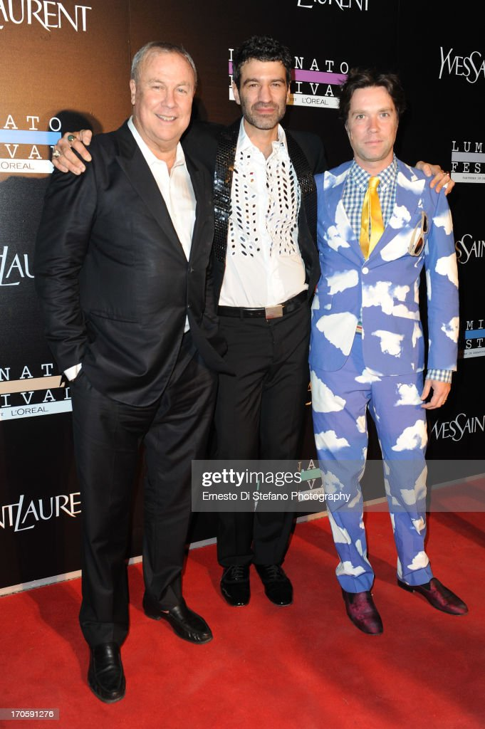 Robert Wilson, Jorn Weisbrodt and <a gi-track='captionPersonalityLinkClicked' href=/galleries/search?phrase=Rufus+Wainwright&family=editorial&specificpeople=206122 ng-click='$event.stopPropagation()'>Rufus Wainwright</a> attend 'Luminato' Toronto Opening Night at Brookfield Place on June 14, 2013 in Toronto, Canada.