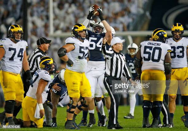 Robert Windsor of the Penn State Nittany Lions celebrates a fumble recovery in the second half against the Michigan Wolverines on October 21 2017 at...
