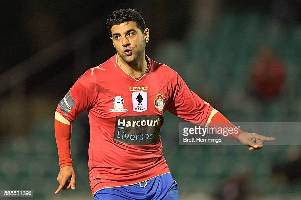 Robert Younis of the White Eagles celebrates scoring a goal during the FFA Cup round of 32 match between the Bonnyrigg White Eagles and Manly United...