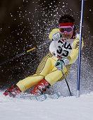 Robert Zan of Yugoslavia during the International Ski Federation Men's Giant Slalom at the FIS Alpine World Ski Championship on 4 February 1987 in...