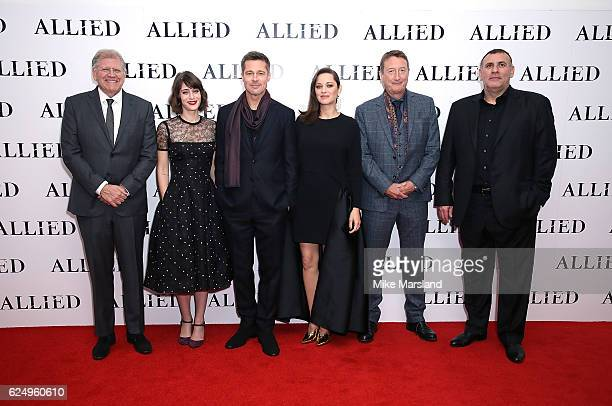 Robert Zemeckis Lizzy Caplan Brad Pitt Marion Cotillard Steven Knight and Graham King attend the UK Premiere of the Paramount Pictures Film 'Allied'...