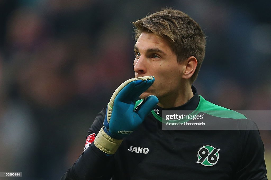 Robert Ziegler, keeper of Hannover reacts after receiving the 3rd goal during the Bundesliga match between FC Bayern Muenchen and Hannover 96 at Allianz Arena on November 24, 2012 in Munich, Germany.
