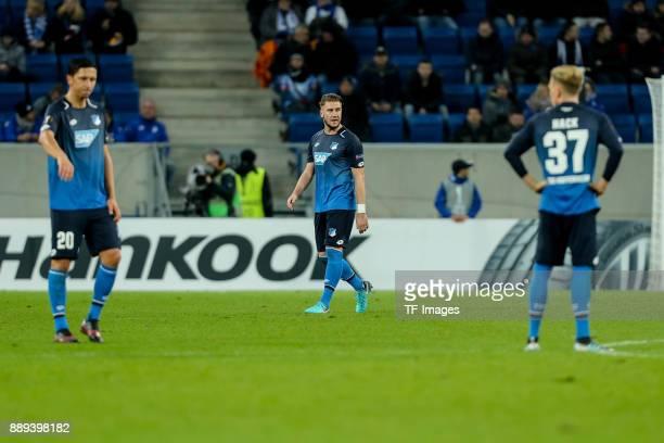 Robert Zulj of Hoffenheim Ermin Bicakcic of Hoffenheim and Robin Hack of Hoffenheim looks dejected after the UEFA Europa League group C match between...