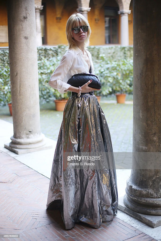 Roberta Altavilla wears Chanel bag, Lanvin skirt and Ray Ban sunglasses on day 3 Rome Fashion Week Spring/Summer 2014, on January 26, 2014 in Rome, Italy.
