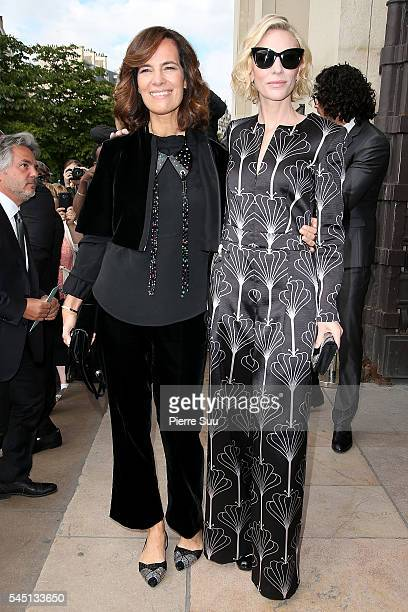 Roberta Armani and Cate Blanchett arrive at the Giorgio Armani Prive Haute Couture Fall/Winter 20162017 show as part of Paris Fashion Week on July 5...
