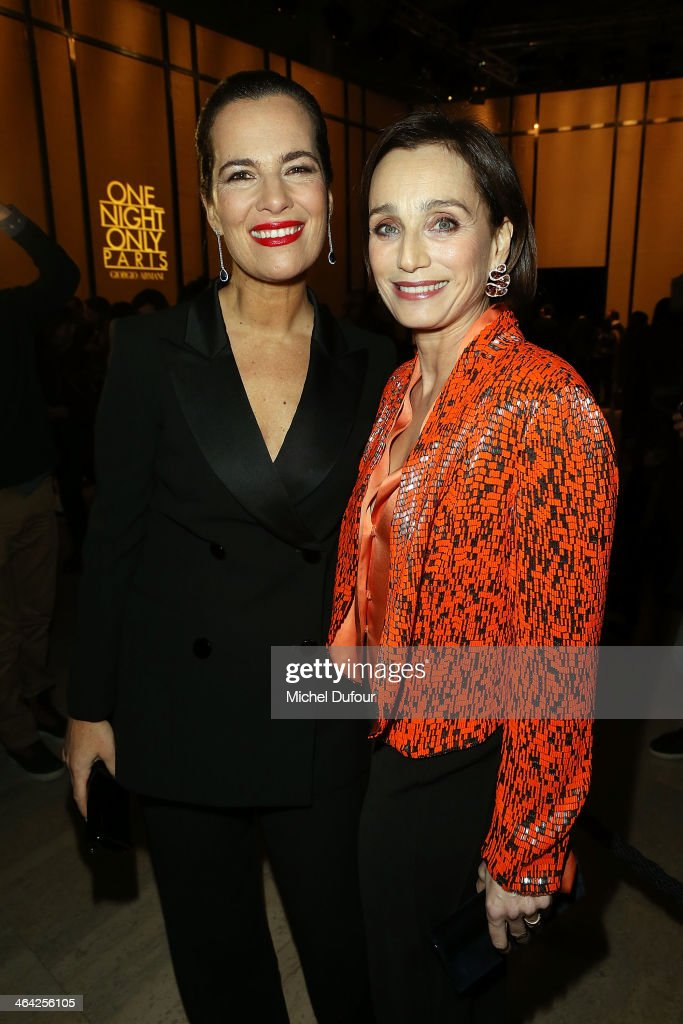 <a gi-track='captionPersonalityLinkClicked' href=/galleries/search?phrase=Roberta+Armani&family=editorial&specificpeople=2082135 ng-click='$event.stopPropagation()'>Roberta Armani</a> and <a gi-track='captionPersonalityLinkClicked' href=/galleries/search?phrase=Kristin+Scott+Thomas&family=editorial&specificpeople=203290 ng-click='$event.stopPropagation()'>Kristin Scott Thomas</a> attend the Giorgio Armani Prive show as part of Paris Fashion Week Haute Couture Spring/Summer 2014 on January 21, 2014 in Paris, France.