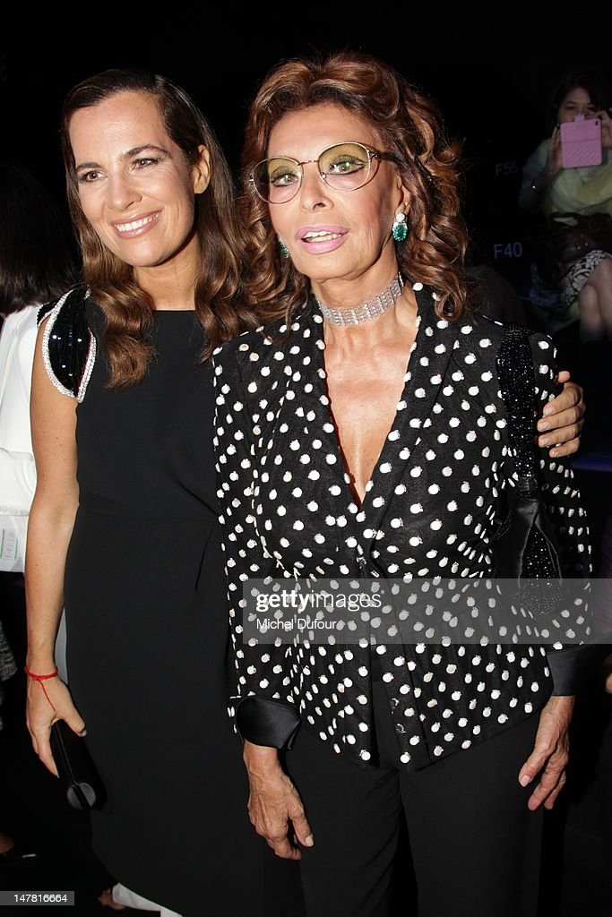 Roberta Armani and Sophia Loren attend the Giorgio Armani Prive Haute-Couture Show as part of Paris Fashion Week Fall / Winter 2012/13 at Palais de Chaillot on July 3, 2012 in Paris, France.