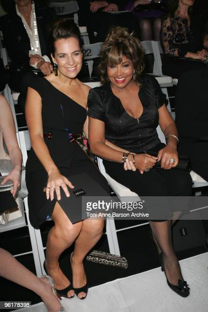 Roberta Armani andTina Turner attends the Giorgio Armani Prive HauteCouture show as part of the Paris Fashion Week Spring/Summer 2010 at Palais de...