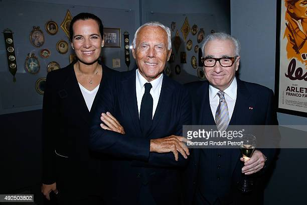 Roberta Armani Giorgio Armani and Martin Scorsese attend the Tribute to Director Martin Scorsese at Cinematheque Francaise on October 13 2015 in...