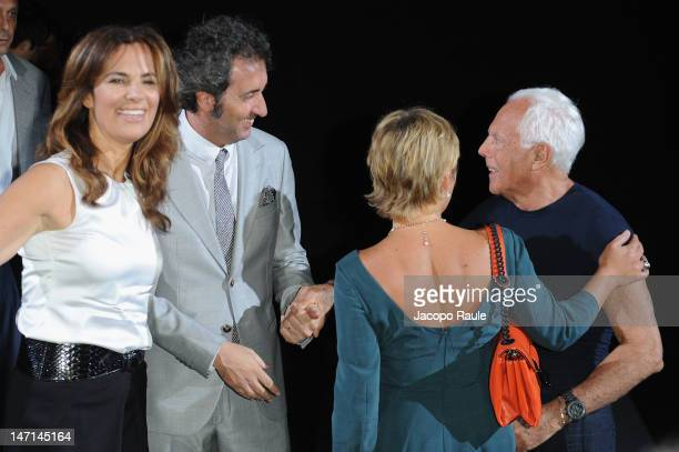 Roberta Armani Paolo Sorrentino and Giorgio Armani attend the Giorgio Armani show as part of Milan Fashion Week Menswear Spring/Summer 2013 on June...