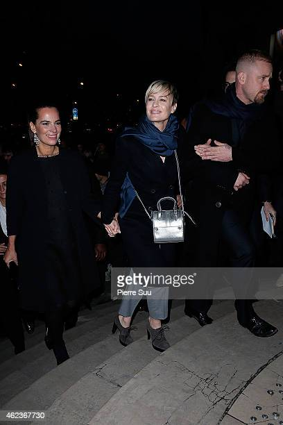 Roberta Armani Robin Wright and Ben Foster attend the Giorgio Armani Prive show as part of Paris fashion week Haute Couture Spring/Summer 2015 on...