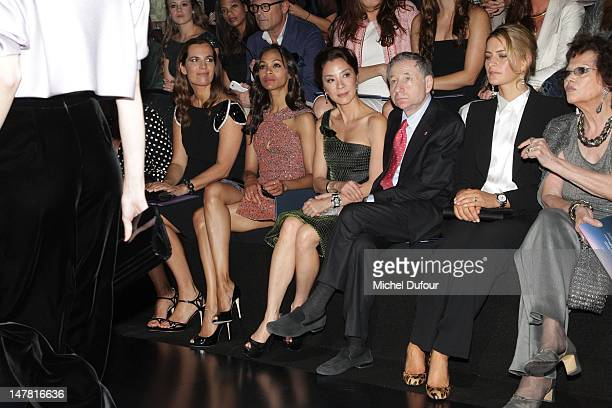 Roberta Armani Zoe Saldana Michele Yeoh Jean Tod and Tatiana Blatnik attend the Giorgio Armani Prive HauteCouture Show as part of Paris Fashion Week...