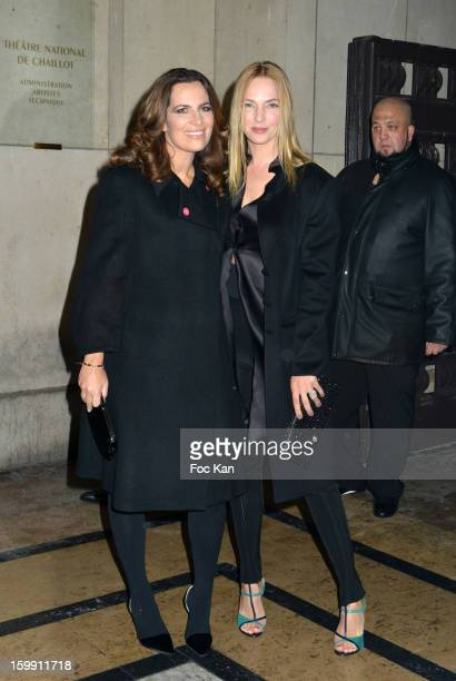Roberta Armaniand Uma Thurman attend the Giorgio Armani Prive Spring/Summer 2013 HauteCouture show as part of Paris Fashion Week at Theatre National...