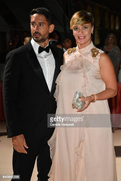 Roberta Giarrusso and Riccardo Pasquale arrive at the dinner after the Opening Ceremony during the 74th Venice Film Festival at Excelsior Hotel on...