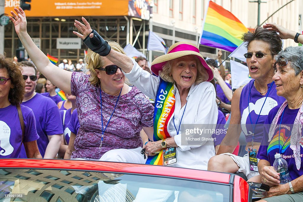Roberta Kaplan (L) and parade grand marshal Edie Windsor attend The March during NYC Pride 2013 on June 30, 2013 in New York City.