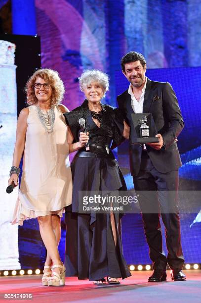Roberta Manfredi Erminia Manfredi and Pierfrancesco Favino attend Nastri D'Argento 2017 Awards Ceremony on July 1 2017 in Taormina Italy