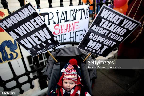 Roberta O'Brien four months from Amersham Bucks takes part in a mothers and babies Protest Party to demonstrate against the Panorama expose of IVF...