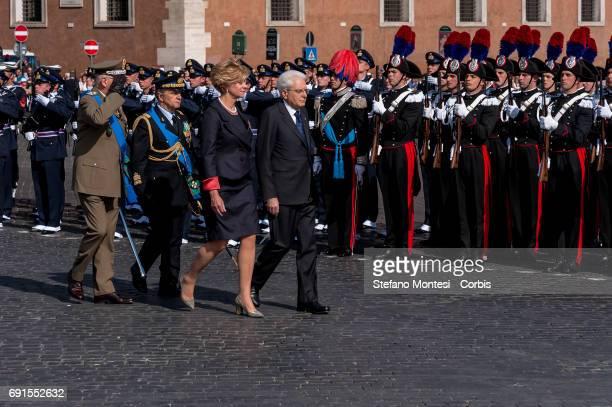 Roberta Pinotti Defense Minister and President of the Republic Sergio Mattarella attend the military parade during the celebrations of the Italian...