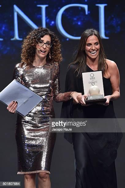 Roberta Vinci and Teresa Mannino attend the 'Gazzetta Awards' on December 17 2015 in Milan Italy