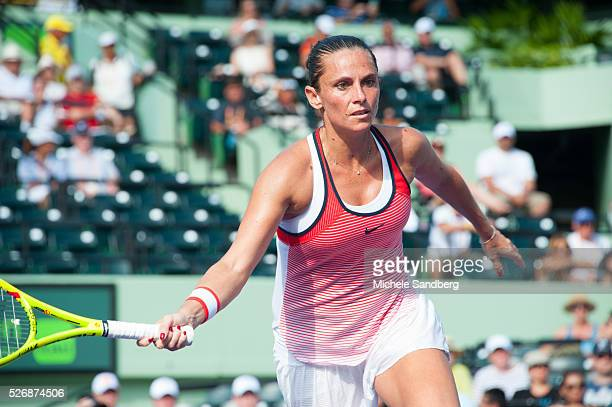 Roberta Vinci of Itali waits for the serve during her match against Madison Keys during Day 7 of the Miami Open presented by Itau at Crandon Park...