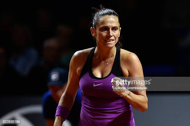 Roberta Vinci of Italy celebrates a point in her match against Julia Goerges of Germany during Day 4 of the Porsche Tennis Grand Prix at PorscheArena...