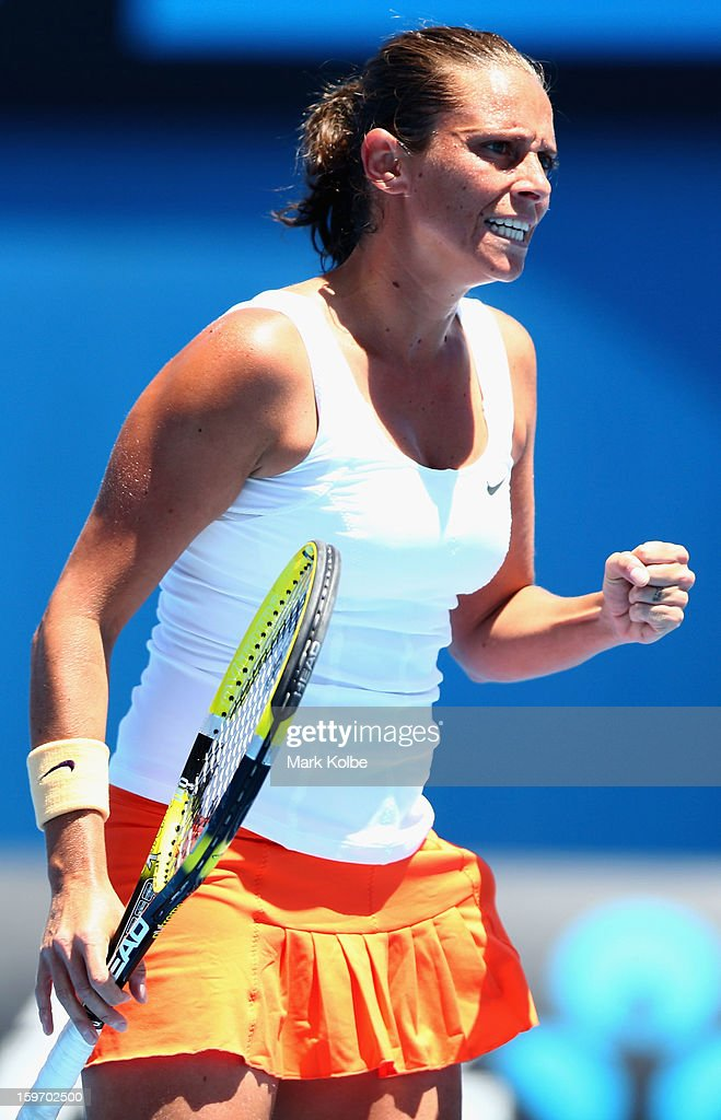 Roberta Vinci of Italy celebrates a point in her third round match against Elena Vesnina of Russia during day six of the 2013 Australian Open at Melbourne Park on January 19, 2013 in Melbourne, Australia.