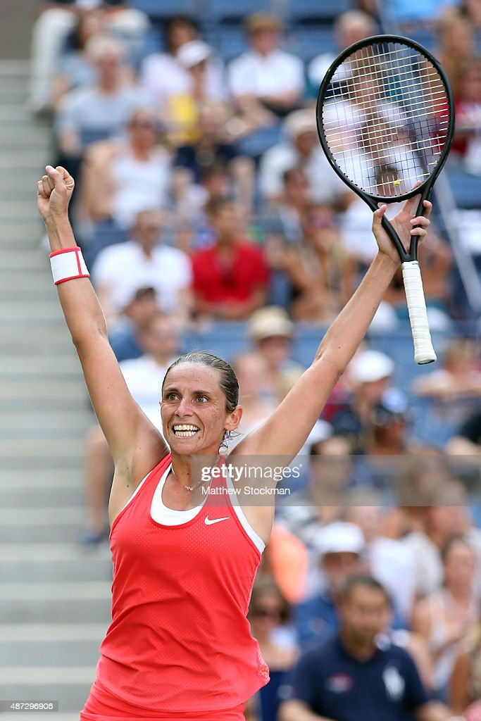 <a gi-track='captionPersonalityLinkClicked' href=/galleries/search?phrase=Roberta+Vinci&family=editorial&specificpeople=633555 ng-click='$event.stopPropagation()'>Roberta Vinci</a> of Italy celebrates after defeating Kristina Mladenovic of France in their Women's Singles Quarterfinals Round match on Day Nine of the 2015 US Open at the USTA Billie Jean King National Tennis Center on September 8, 2015 in the Flushing neighborhood of the Queens borough of New York City.