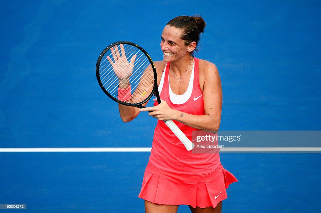 <a gi-track='captionPersonalityLinkClicked' href=/galleries/search?phrase=Roberta+Vinci&family=editorial&specificpeople=633555 ng-click='$event.stopPropagation()'>Roberta Vinci</a> of Italy celebrates after defeating Mariana Duque-Marino of Colombia during their Women's Singles Third Round match on Day Five of the 2015 US Open at the USTA Billie Jean King National Tennis Center on September 4, 2015 in the Flushing neighborhood of the Queens borough of New York City.