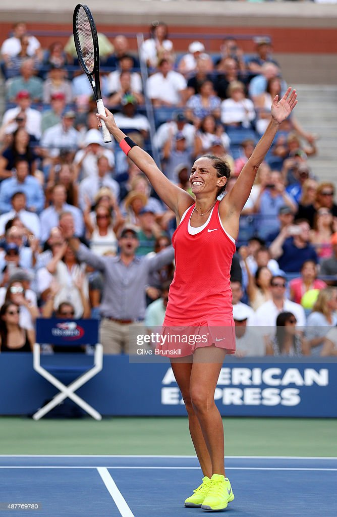 <a gi-track='captionPersonalityLinkClicked' href=/galleries/search?phrase=Roberta+Vinci&family=editorial&specificpeople=633555 ng-click='$event.stopPropagation()'>Roberta Vinci</a> of Italy celebrates after defeating Serena Williams of the United States during their Women's Singles Semifinals match on Day Twelve of the 2015 US Open at the USTA Billie Jean King National Tennis Center on September 11, 2015 in the Flushing neighborhood of the Queens borough of New York City. Vinci defeated Williams 2-6, 6-4, 6-4.