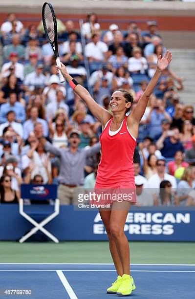 Roberta Vinci of Italy celebrates after defeating Serena Williams of the United States during their Women's Singles Semifinals match on Day Twelve of...