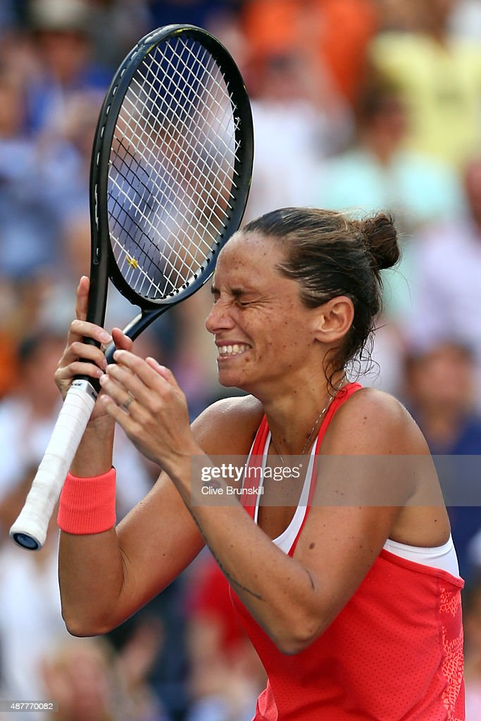 <a gi-track='captionPersonalityLinkClicked' href=/galleries/search?phrase=Roberta+Vinci&family=editorial&specificpeople=633555 ng-click='$event.stopPropagation()'>Roberta Vinci</a> of Italy celebrates after defeating Serena Williams of the United States in their Women's Singles Semifinals match on Day Twelve of the 2015 US Open at the USTA Billie Jean King National Tennis Center on September 11, 2015 in the Flushing neighborhood of the Queens borough of New York City. Vinci defeated Williams 2-6, 6-4, 6-4.