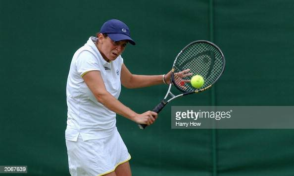Roberta Vinci of Italy hits a backhand return against Alicia Molik of Australia during the second round of the DFS Classic on June 9 2003 at The...