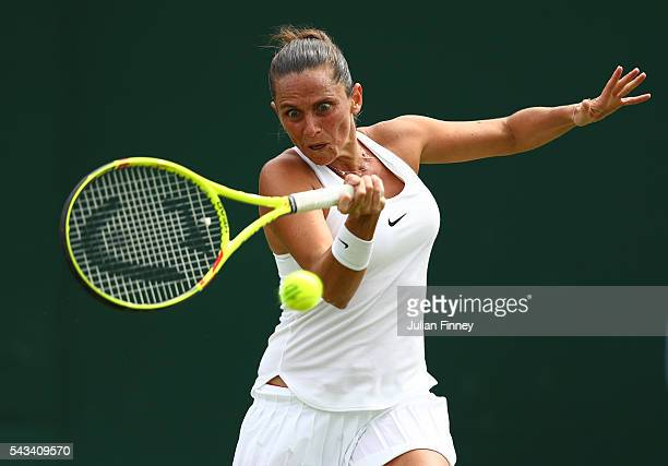 Roberta Vinci of Italy plays a forehand during the Ladies Singles first round match against Alison Riske of The United States on day two of the...
